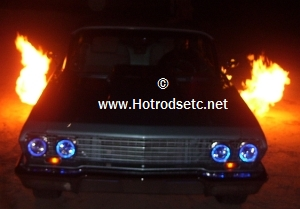 1964 chevy throwing flames