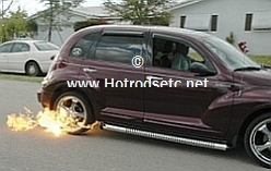 pt cruiser shooting flames